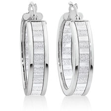 Glitter Hoop Earrings in Sterling Silver