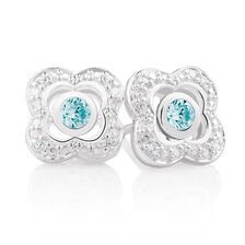 Aqua Cubic Zirconia & Sterling Silver Stud Earrings with Quatre Enhancers