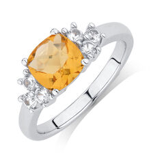 Ring with Citrine & Created White Sapphire in Sterling Silver