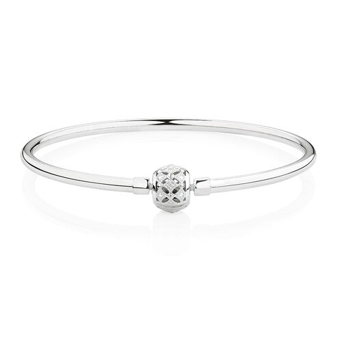 "Sterling Silver 21cm (8.5"") Charm Bangle with Cubic Zirconia"