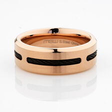 Online Exclusive - Men's Ring with Black Cable in Rose Tone Stainless Steel