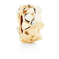 Online Exclusive - Diamond Set Flower Charm in 10ct Yellow Gold