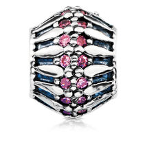 Oxidised Charm with Pink Cubic Zirconia in Sterling Silver