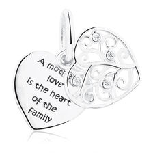 Engraved Heart Mini Pendant with Cubic Zirconia in Sterling Silver