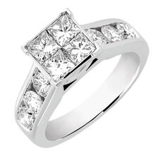 Engagement Ring with 1 7/8 Carat TW of Diamonds in 14kt White Gold
