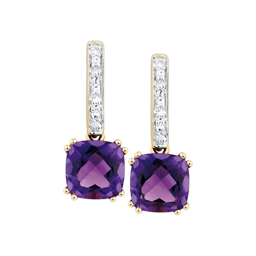 Drop Earrings with Amethyst & Diamonds in 10ct Yellow & White Gold
