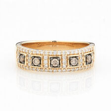 ONLINE EXCLUSIVE - Multistone Ring with 0.49 Carat Total Weight of White & Enhanced Brown Diamonds in 10kt Yellow Gold