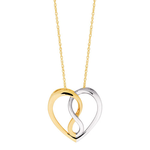 Infinitas Pendant on 10ct Yellow Gold with Rhodium Plating