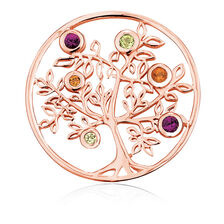 Citrine, Peridot, Rhodolite & 10ct Rose Gold Tree Coin Pendant Insert