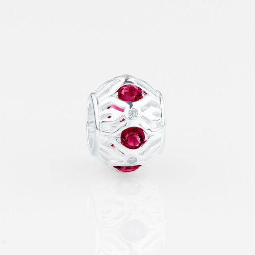Online Exclusive - Patterned Charm with Created Ruby in Sterling Silver