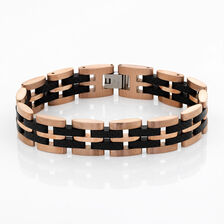 Online Exclusive - Men's Link Bracelet in Rose Tone Stainless Steel & Black Carbon Fibre
