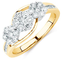 Engagement Ring with 1 Carat TW of Diamonds in 10ct Yellow & White Gold