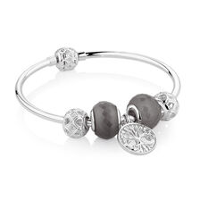 "19cm (7.5"") Tree of Life Starter Charm Bangle with Cubic Zirconia & Glass in Sterling Silver"