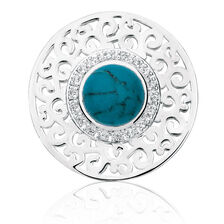 Cubic Zirconia, Turquoise Glass & Sterling Silver Coin Pendant Insert