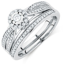 Promise Ring Bridal Set with 1/4 Carat TW of Diamonds in 10kt White Gold