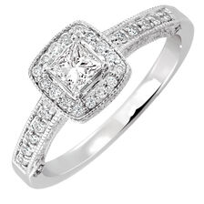Engagement Ring with 0.45 Carat TW of Diamonds in 14ct White Gold