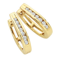 Hoop Earrings with 0.15 Carat TW of Diamonds in 10kt Yellow Gold