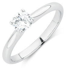 Evermore Colourless Solitaire Engagement Ring with a 1/2 Carat Diamond in 14kt White Gold