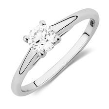 Ideal Cut Solitaire Engagement Ring with a 1/2 Carat Diamond in 14kt White Gold & Platinum