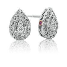 Michael Hill Designer Fashion Earrings with 0.33 Carat TW of Diamonds in 10ct White Gold