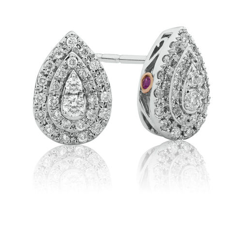Michael Hill Designer Fashion Earrings with 1/3 Carat TW of Diamonds in 10kt White Gold