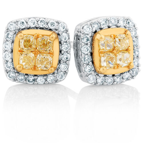 Stud Earrings with 5/8 Carat TW of White & Natural Yellow Diamonds in 10kt Yellow & White Gold