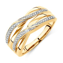 Twist Ring with 0.15 Carat TW of Diamonds in 10ct Yellow Gold