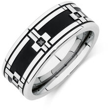 Men's Ring with Enhanced Black Diamonds in Stainless Steel