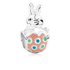 Easter Bunny Charm with Enamel in Sterling Silver
