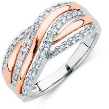 Ring with 0.33 Carat of Diamonds in 10ct White & Rose Gold