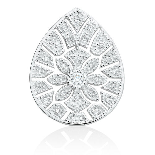 Art Deco Coin Pendant Insert with Cubic Zirconia in Sterling Silver