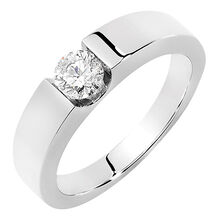 Men's Certified Solitaire Ring with a 1/2 Carat TW Diamond in 18kt White Gold