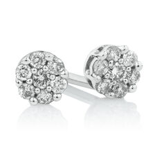 Cluster Stud Earrings with Diamonds in 10kt White Gold