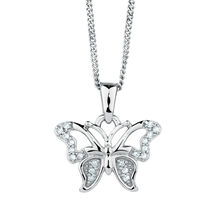 Butterfly Pendant with 1/20 Carat TW of Diamonds in Sterling Silver