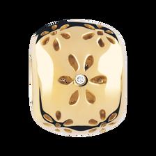 Diamond Set & 10kt Yellow Gold Flower Pattern Charm