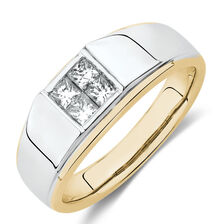 Men's Ring with 1/2 Carat TW of Diamonds in 10ct Yellow & White Gold