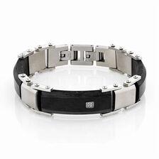 Online Exclusive - Men's Patterned Bracelet in Carbon Fibre & Stainless Steel