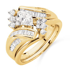 Online Exclusive - Bridal Set with 1 Carat TW of Diamonds in 14kt Yellow & White Gold