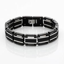 Online Exclusive - Men's Link Bracelet in Black & Silver Stainless Steel