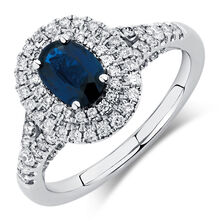 Michael Hill Designer Ring with Sapphire & 1/2 Carat TW of Diamonds in 14kt White & Rose Gold