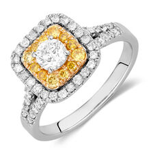 Engagement Ring with 1 Carat TW of Diamonds in 14ct White & Yellow Gold