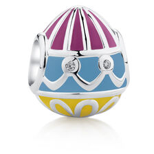 Easter Egg Charm with Coloured Enamel & Cubic Zirconia in Sterling Silver