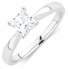 Evermore Colorless Solitaire Engagement Ring with a 3/4 Carat Diamond in 14kt White Gold