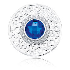 Blue Cubic Zirconia & Sterling Silver Coin Pendant Insert