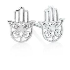 Hamsa Hand Stud Earrings in Sterling Silver