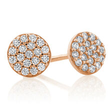 Round Stud Earrings with Cubic Zirconia in 10ct Rose Gold