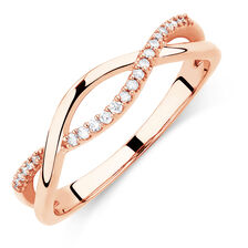 Twist Ring with Diamonds in 10ct Rose Gold