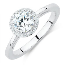 Halo Stacker Ring with Cubic Zirconia in Sterling Silver