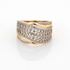 Online Exclusive - Wave Ring with 1 Carat TW of Diamonds in 10ct Yellow Gold