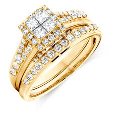 Bridal Set with 1 Carat TW of Diamonds in 10kt Yellow Gold